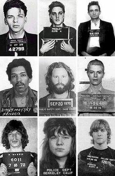 Stars under arrest- Franck Sinatra, Elvis, Johnny Cash, Jimi Hendrix, Jim Morrison, David Bowie, Mick Jagger, Janis Joplin and Kurt Cobain