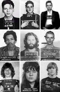 Stars under arrest - Franck Sinatra, Elvis, Johnny Cash, Jimi Hendrix, Jim Morrison, David Bowie, Mick Jagger, Janis Joplin and Kurt Cobain