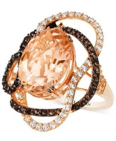 Le Vian crazies collection peach morganite white topaz and smokey quartz Pink Gold Rings, White Topaz Rings, Gold Rings Jewelry, Quartz Jewelry, Fine Jewelry, Royal Diamond, Smoky Quartz Ring, Rose Gold Morganite Ring, Fantasy Jewelry
