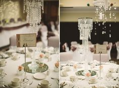 Beautiful crystal chandalier wedding table centrepieces  Wedding table charger plates with napkin ring favours  email: info@brideslittlehelper.co.uk
