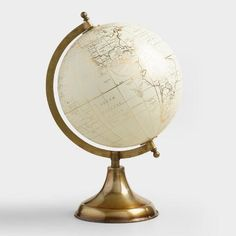 White Globe on Gold Stand by World Market Explore the world with our metallic-printed decorative glo Vinyl Record Storage, Tv Storage, Home Office Accessories, Pallet Tv Stands, World Market Store, Tv Stand Console, Dear Lillie, Lowes Home, Metallic Prints