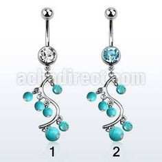 "Surgical steel belly banana for #navel #piercing, 14 g (1.6 mm) with an 8 mm jewel ball and a dangling vine with faux #turquoise balls design - length 3/8"" (10 mm). #Wholesale price is $1.43 US"