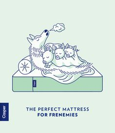 Casper: the perfect mattress for frenemies. Guerrilla Advertising, Clever Advertising, Pattern Illustration, Graphic Illustration, Casper Mattress Reviews, Kids Graphics, Poster Ads, Print Ads, Line Drawing