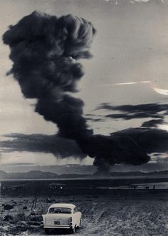 The drifting mushroom cloud from a nuclear test at Yucca Flats, Nevada, May 28, 1957, photo by Dave Cicero. (Harry Ransom Center)