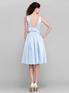A-line/Princess Bateau Knee-length Satin Bridesmaid Dress (2174375) | LightInTheBox
