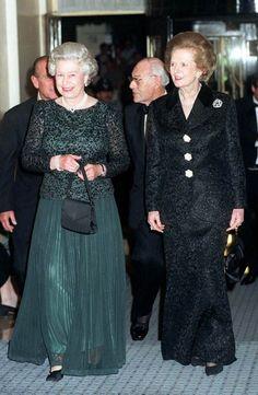 Queen Elizabeth II and the 'Iron Lady' Prime Minister Margaret Thatcher Die Queen, Hm The Queen, Royal Queen, Her Majesty The Queen, Helmut Kohl, Queen And Prince Phillip, Prinz Philip, The Iron Lady, Margaret Thatcher