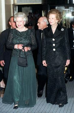 Margaret Thatcher and Queen Elizabeth II. When I was very young, these two woman ran my country. I thought the hair and the handbag were part of the ruling uniform.