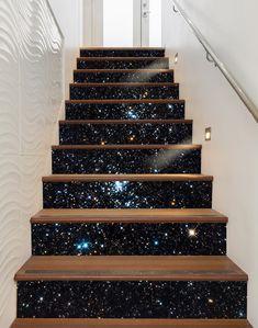 3D Shining Stars Sky 1588 Stair Risers | AJ Wallpaper New Wallpaper, Custom Wallpaper, Glitter Stairs, Mosaic Stairs, Stairway Art, Basement Steps, Stair Decor, Wall Decor, Dorm Walls