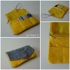Blague à tabac Gris et Jaune MIX Pouch Tutorial, My Bags, Diy Clothes, Messenger Bag, Sewing Projects, Satchel, Textiles, Wallet, Purses
