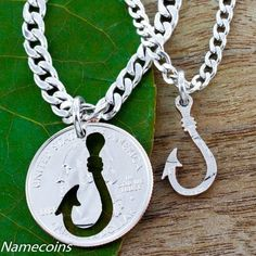 Fishing Hook, You are the Catch of my Life His & Her Necklace Pendants.