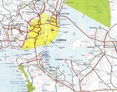 Mapa da Área Metropolitana de Lisboa, Portugal