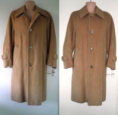 Original VTG 60s BESPOKE Camel Long Winter Wool Cashmere Raglan Over Coat Mens L 31.00