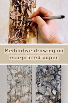 Meditative drawing on eco-printed paper – Gumnut Magic Fabric Painting, Fabric Art, Tinta Natural, Paper Art, Paper Crafts, Simple Line Drawings, Leaf Art, Nature Crafts, How To Dye Fabric