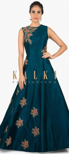 Teal blue raw silk gown with zardosi resham butti only on Kalki Evening Dresses For Weddings, Evening Gowns, Latest Gown Design, Designer Gowns, Designer Wear, Indowestern Gowns, Full Gown, Simple Gowns, Gown Pattern