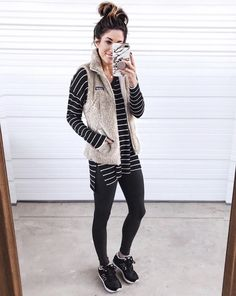 40 Ways to Style Leggings! - The Sister Studio Legging Outfits, Sporty Outfits, Leggings Fashion, Fall Outfits, Fashion Outfits, Womens Fashion, Nike Outfits, Fashion Vest, Sneaker Outfits