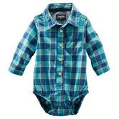 Every baby boy needs a plaid piece in his wardrobe! Roll the cuffs up to show off the chambray details.