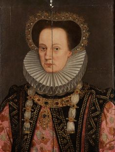 English School, 16th Century Portrait of a noblewoman, said to be Queen Mary, half-length, in an embroidered pink dress with a black jewelled overdress, a ruff and a jewelled hair ornament (Bonhams)