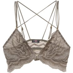 Cosabella Women's Ceylon Criss-Cross Bralette - Grey, Size M (205 BRL) ❤ liked on Polyvore featuring underwear, grey and cosabella