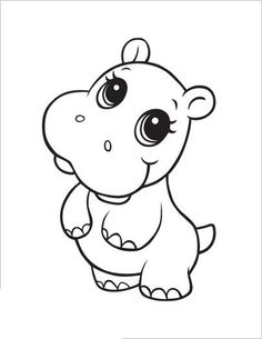 Learning Friends Hippo Baby Animal Coloring Printable From LeapFrog