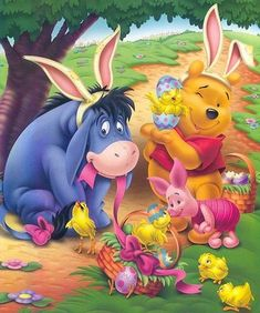 Easter Pooh, Eeyore and Piglet Disney Winnie The Pooh, Winne The Pooh, Winnie The Pooh Quotes, Easter Jokes, Easter Cartoons, Gifs Disney, Disney Art, Walt Disney, Pooh Bear