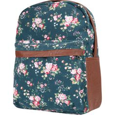 Canvas Floral Backpack ($35) ❤ liked on Polyvore