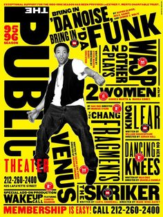 "Paula Scher poster for the NY Public Theater, for the production of ""Bring in 'Da noise, Bring in 'Da Funk"" Paula Scher, Stage Musical, Tiffany E Co, New York Theater, Shakespeare In The Park, Shakespeare Festival, Public Theater, Environmental Graphics, Design Graphique"