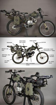 Überlebensrad - Survival Skills, Gear & Tips - Fahrrad Custom Motorcycles, Custom Bikes, Cars And Motorcycles, Survival Skills, Survival Gear, Dh Velo, E Mtb, Motorised Bike, Bike Engine