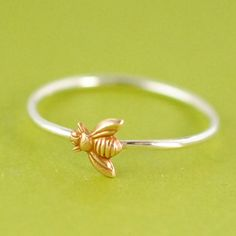 Bumble Bee Stacking Ring in Sterling Silver - Honey Bee Ring