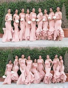 Pink Off Shoulder Sleeveless Excessive Low Satin Mermaid Bridesmaid Attire Rose Gold Bridesmaid, Black Bridesmaids, Wedding Bridesmaids, Wedding Attire, Wedding Gowns, African Bridesmaid Dresses, Mermaid Bridesmaid Dresses, Bridesmaid Dress Colors, Off Shoulder Bridesmaid Dress
