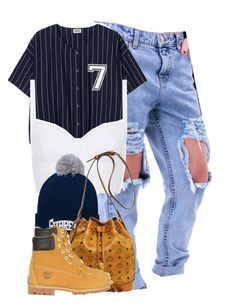 """Supreme 7."" by cheerstostyle ❤ liked on Polyvore featuring Topshop, New Era, MCM and Timberland"