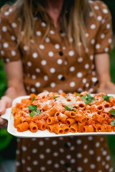 """) – A Couple Cooks Nothing says """"special dinner"""" more than vodka sauce pasta! The creamy sauce is simmered with garlic and basil, served over rigatoni with lots of Parmesan. Dinner Party Menu, Dessert For Dinner, Dinner Ideas, Healthy Food Options, Easy Healthy Recipes, Quick Recipes, Vodka Sauce Pasta, Vegetarian Cookbook, Vegetarian Meals"""