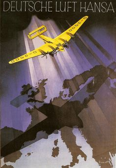 German poster for Lufthansa Airlines (1930s)//FEB16