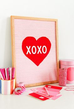 How To Paint a Letter Board Valentine Baskets, Valentines Gift Box, Felt Letter Board, Felt Letters, Heart Stencil, D Craft, Learn To Paint, Painting For Kids, Diy Crafts For Kids