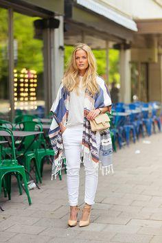 spring / summer - street chic style - office wear - work outfit - summer outfit ideas - spring outfit ideas - stripe fringe poncho + cream tee + nude stilettos + nude shoulder bag + white chinos