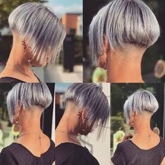 Trendy Pixie Hairstyles - Short Hair Styles for Women Shaved Bob, Shaved Nape, Girl Short Hair, Short Hair Cuts, Short Hair Styles, Stacked Bob Hairstyles, Pixie Hairstyles, Girls Hairdos, Girls Short Haircuts