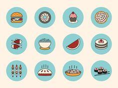 Food Icons by Sanja Veljanoska (Skopje, Macedonia) Flat Design Icons, Icon Design, Ui Inspiration, Graphic Design Inspiration, App Design, Logo Design, Bike Icon, Sushi Love, Food Icons