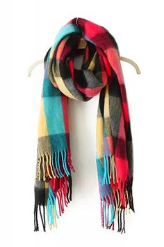 Love the Colors in this Scarf! Bright Colored Multicolor Plaid Pattern Tassel Cashmere Scarf #Multicolor #Plaid #Cashmere #Scarf #Fall #Fashion #Accessories