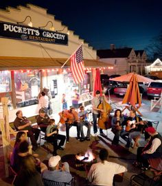 In this photo: Once the sun sets in Leiper's Fork, you can often find the locals at Puckett's Grocery, playing music around the fire pit.