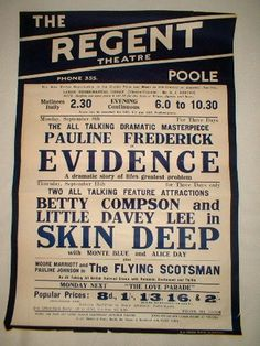 Vintage Theatre Poster - The Regent Theatre - Poole - England - 1929