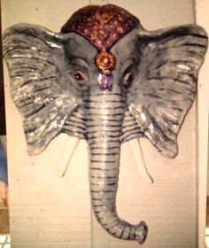 gray elephant mask; artist, glenda coley
