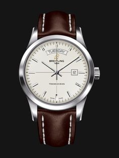 Transocean Day & Date watch by Breitling - steel case, white silver dial, chocolate brown leather strap