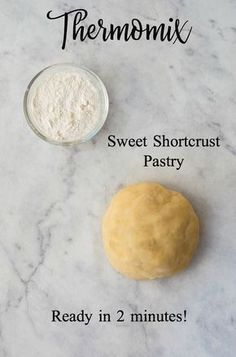 Thermomix Sweet Shortcrust Pastry - a completely fail proof pastry recipe that is ready in a matter of minutes. Pain Thermomix, Thermomix Bread, Thermomix Desserts, Easy Puff Pastry Desserts, Pastry Recipes, Baking Recipes, Short Pastry, Cheesecakes, Bellini Recipe