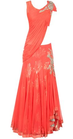 Orange draped blouse lehenga by GAURAV GUPTA.  Shop at http://www.perniaspopupshop.com/whats-new/gaurav-gupta-orange-draped-blouse-lehenga-ggc091301.html