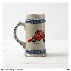 Red race car beer stein. #race #racecar #Zazzle #Cardvibes #Tekenaartje #SOLD