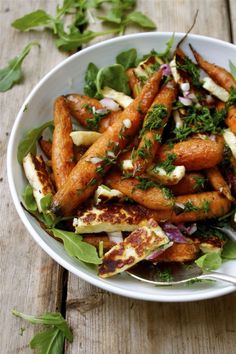 Cumin Roasted Carrots with Haloumi & Fresh Dill - in pursuit of Carrot Recipes, Veggie Recipes, Salad Recipes, Vegetarian Recipes, Cooking Recipes, Chard Recipes, Vegan Meals, Vegan Desserts, Dessert