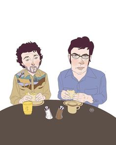 Bret & Jemaine   Flight of the Conchords portrait illustration by Denise Tolentino for Inktober 2019 Tags: Flight of the Conchors, Bret Mckenzie, Jemaine Clement , fotc, Bret Mckenzie, Jemaine Clement, Flight Of The Conchords, Portrait Illustration, Inktober, Illustrations, Tags, Fun, Fictional Characters
