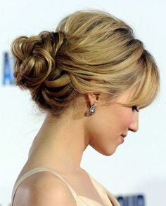 Diana Agron, updo with bangs