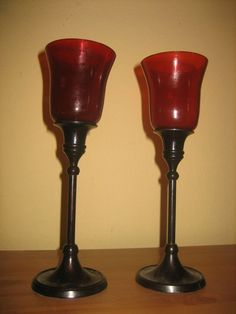 Z GALLERIE 2 Red Globe Candlesticks, Votive Candle Holders- Black and Reds #ZGallerie