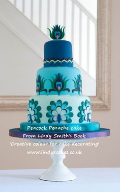 Peacock panache cake - a peacock inspired cake by Lindy Smith, best selling author of Creative colour for cake decorating book
