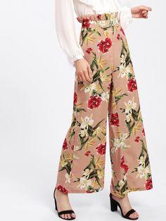 5800c316f5df8 Shop Frilled Waist Floral Palazzo Pants online. SheIn offers Frilled Waist  Floral Palazzo Pants  . Floral Palazzo PantsFloral PantsWide Leg ...